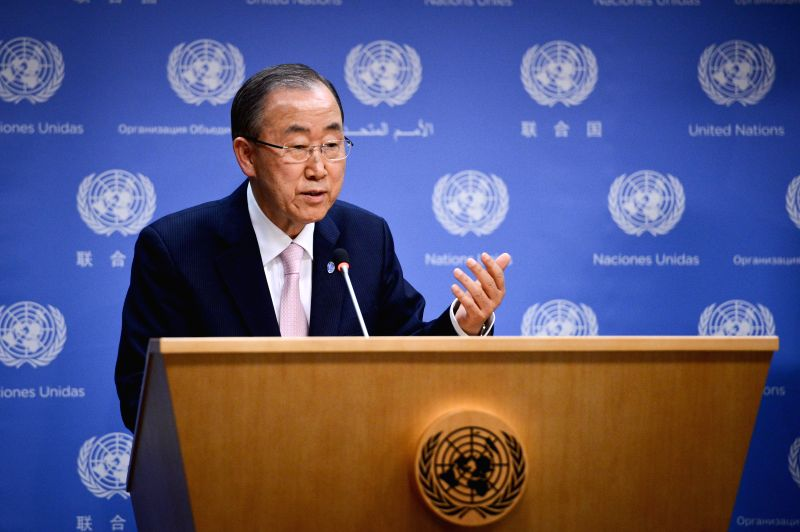 United Nations Secretary-General Ban Ki-moon speaks during a press briefing on developments in the Middle East at the UN headquarters in New York, on July 9, 2014. .