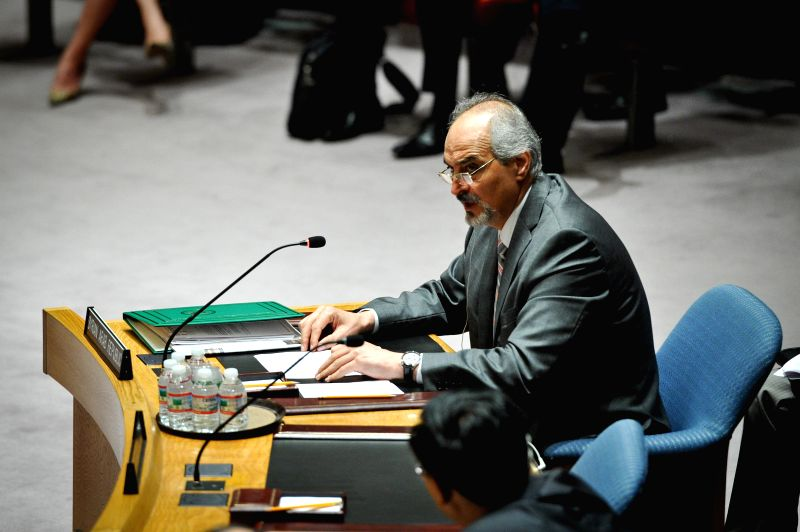 Syria's permanent representative to the United Nations Bashar al-Ja'afari speaks at a Security Council meeting on Syria at the UN headquarters in New York, on June