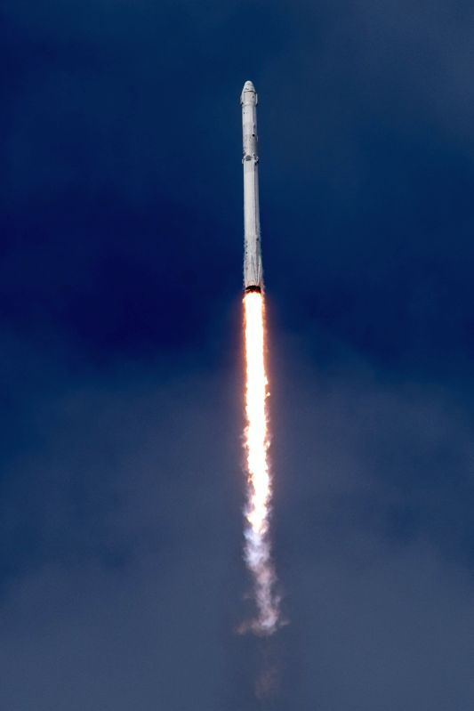 NEW YORK, June 3, 2017 - The photo made available by U.S. space firm SpaceX on June 3, 2017 shows the company's Falcon 9 rocket launching at the Kennedy Space Center in Florida, the United States. ...
