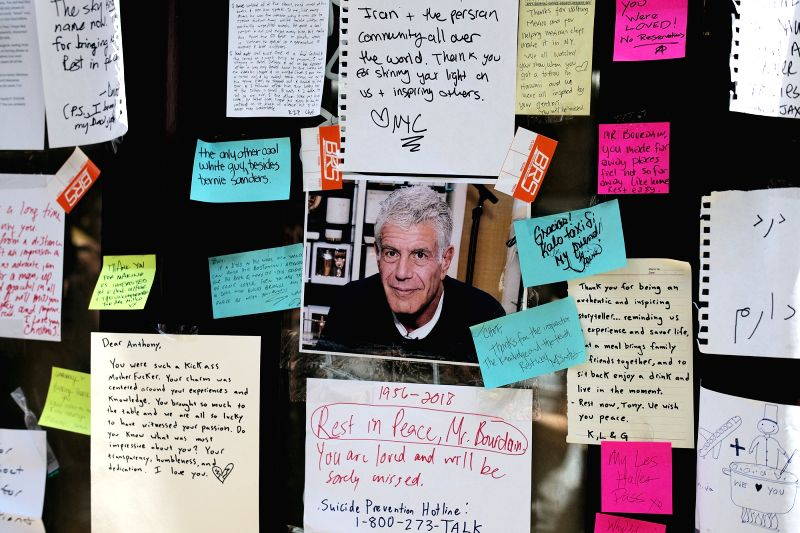 NEW YORK, June 9, 2018 - Notes and a photograph in memory of renowned U.S. chef and television personality Anthony Bourdain are seen at the closed location of Brasserie Les Halles, where Bourdain ...