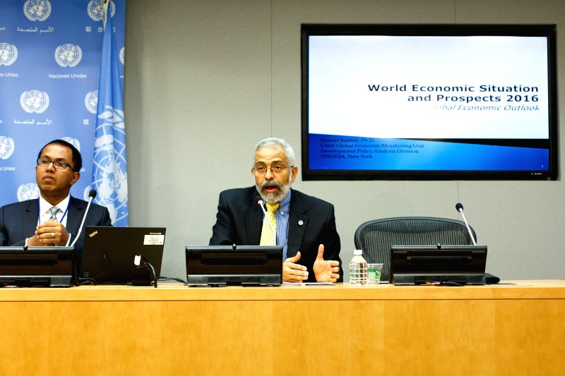 New York: Lenni Montiel (R), UN assistant secretary-general of the United Nations Department of Economic and Social Affairs, speaks during a press conference at the United Nations headquarters in New ...