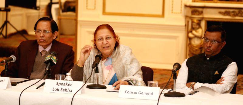 New York: Lok Sabha Speaker Sumitra Mahajan addresses American Indian Women Entrepreneurs at Indian Consulate in New York, US on Nov.18, 2014.