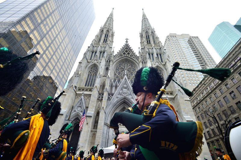 Participants march during the St. Patrick's Day Parade in New York, the United States, March 17, 2015.