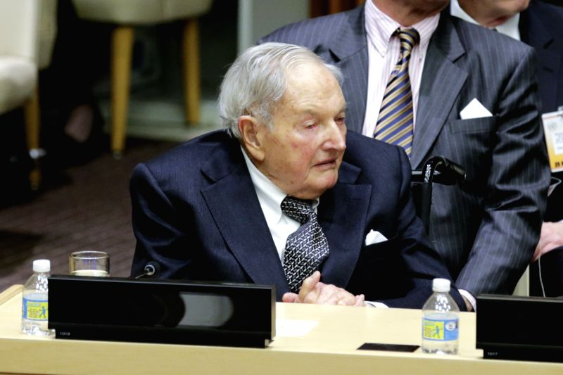 NEW YORK, March 20, 2017 - File photo of taken on Nov. 30, 2016 shows David Rockefeller at the United Nations headquarters in New York. U.S. banker, philanthropist, David Rockefeller has died in his ...