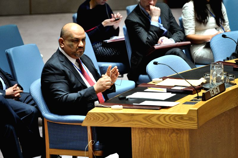 Yemen's Permanent Representative to the UN Khaled Hussein Mohamed Alyemany looks on during an emergency meeting of the UN Security Council regarding the situation ...
