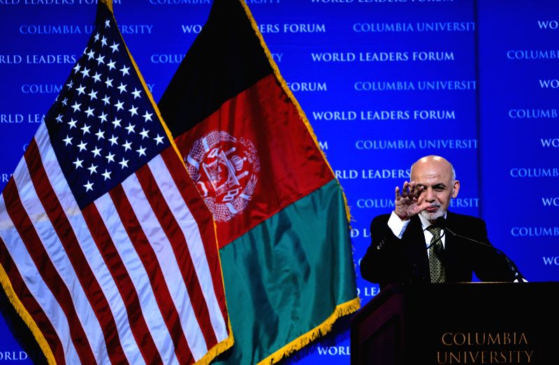 Afghan President Ashraf Ghani speaks during Columbia's World Leaders Forum at Columbia University in New York, the United States, on March 26, 2015. (Xinhua/Wang ...