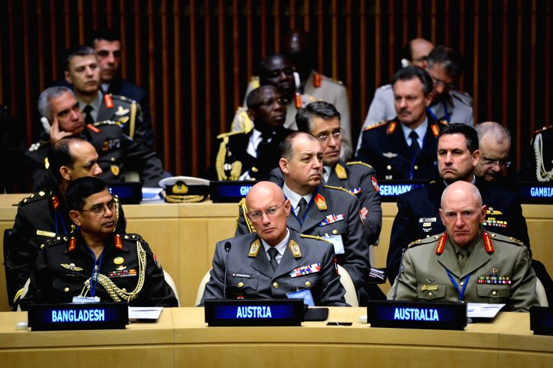 Participants of the first-ever UN Chiefs of Defense Conference listen to UN Secretary-General Ban Ki-moon (not in picture) at the UN headquarters in New York on ...