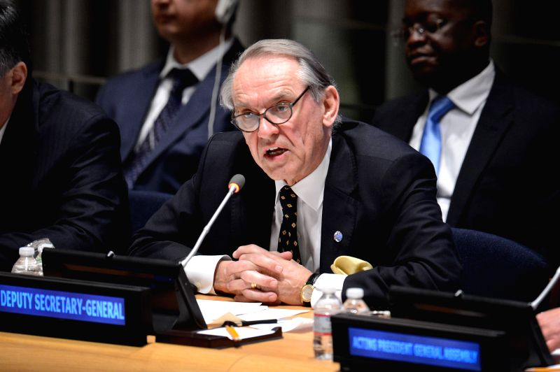 "UN Deputy Secretary-General Jan Eliasson speaks during a high-level interactive dialogue on the topic of the international decade for action ""water for ..."