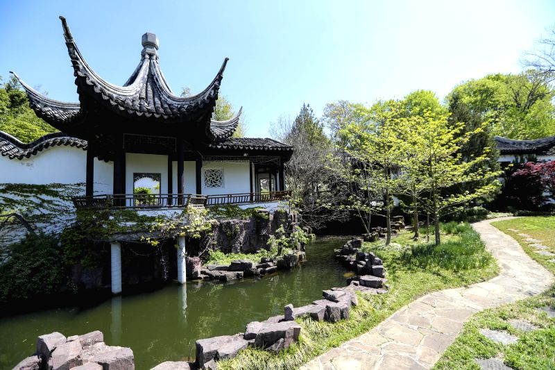 NEW YORK, May 1, 2017 - Photo taken on April 28, 2017 shows the scenery of the Chinese Scholar's Garden at the Snug Harbor on Staten Island, New York, the United States. The New York Chinese ...