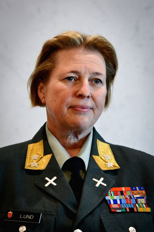 Major General Kristin Lund reacts during a photo opportunity after she was appointed as the commander of the UN peacekeeping force in Cyprus, at the UN headquarters