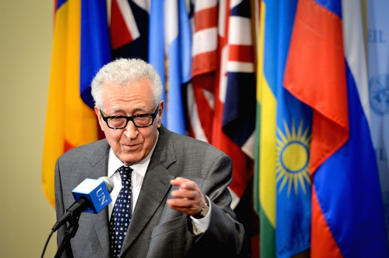 Lakhdar Brahimi, the UN-Arab League special envoy to Syria, speaks to media reporters after briefing the Security Council at the UN headquarters in New York, on May