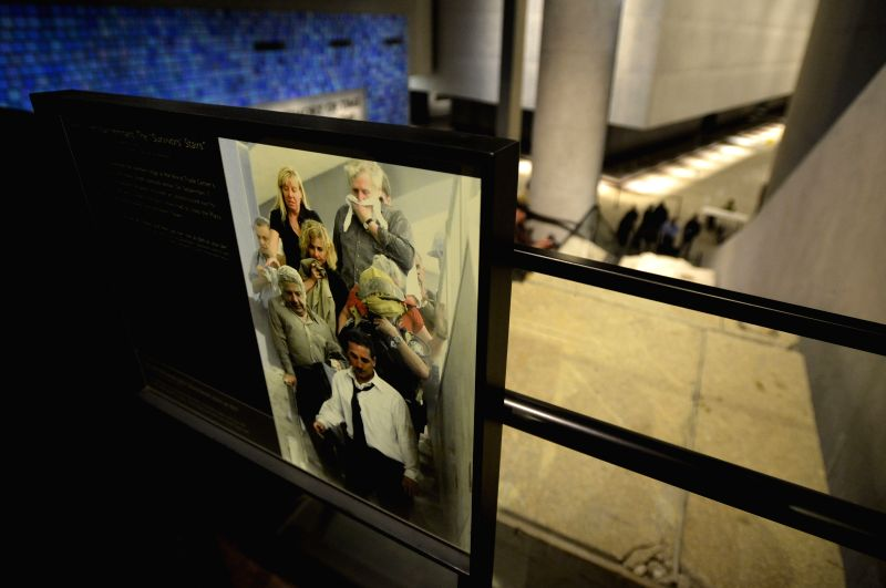 A part of the life stairs is seen on display during a preview of the National September 11 Memorial Museum in New York, May 14, 2014. The National September 11 ...