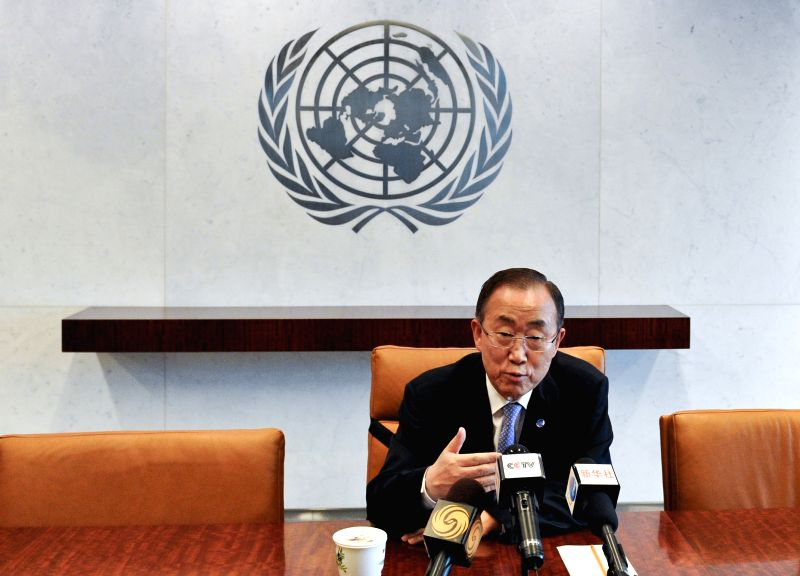 United Nations Secretary-General Ban Ki-moon speaks during an inteview with Chinese media, at the UN headquarters in New York, on May 16, 2014. Ban Ki-moon on ...