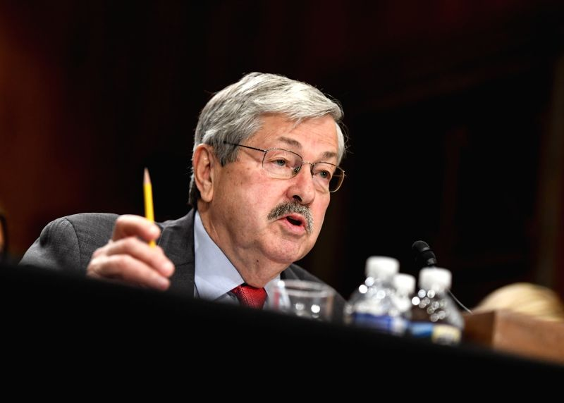 NEW YORK, May 22, 2017 - File photo taken on May 2, 2017 shows Iowa Governor Terry Branstad testifying before the U.S. Senate Foreign Relations Committee on a hearing considering him to be U.S. ...