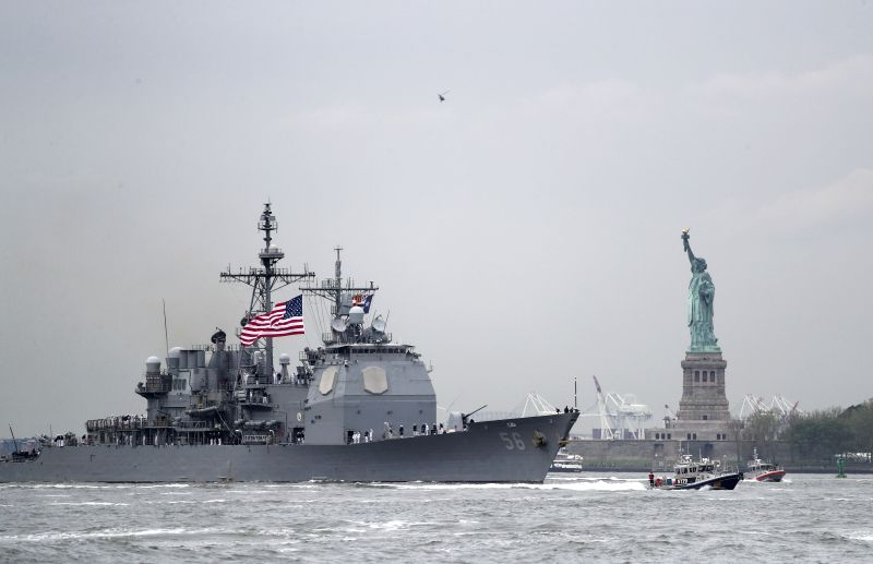 NEW YORK, May 24, 2017 - USS San Jacinto (CG-56), a Ticonderoga-class cruiser, is seen during the fleet parade on waters in New York, the United States, on May 24, 2017. The 29th New York Fleet Week ...