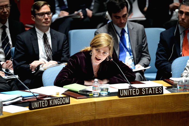 Samantha Power (C), U.S. Permanent Representative to the United Nations, speaks during a Security Council urgent session on the situation of Ukraine, at the UN ...
