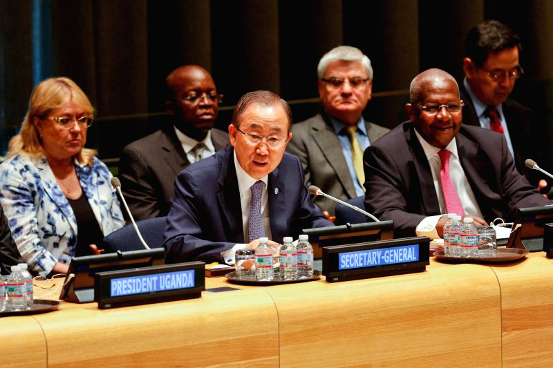 UN Secretary-General Ban Ki-moon(C, front) addresses a high-level General Assembly(GA) debate on strengthening cooperation between the UN and other organizations, at ...