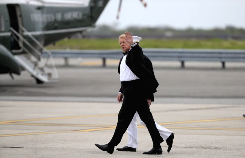 NEW YORK, May 4, 2017 - U.S. President Donald Trump walks towards Marine One after arriving at John F. Kennedy International Airport in New York, the United States, May 4, 2017. As a native New ...