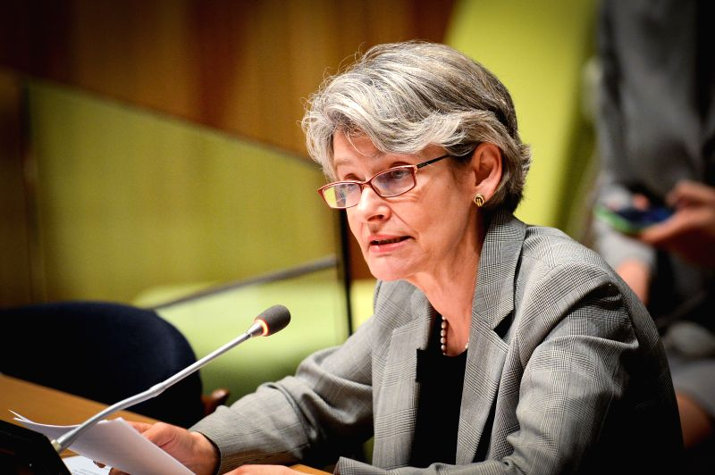 Irina Bokova, the director-general of the UN Educational, Scientific and Cultural Organization (UNESCO), speaks during a special thematic debate of the UN General ...