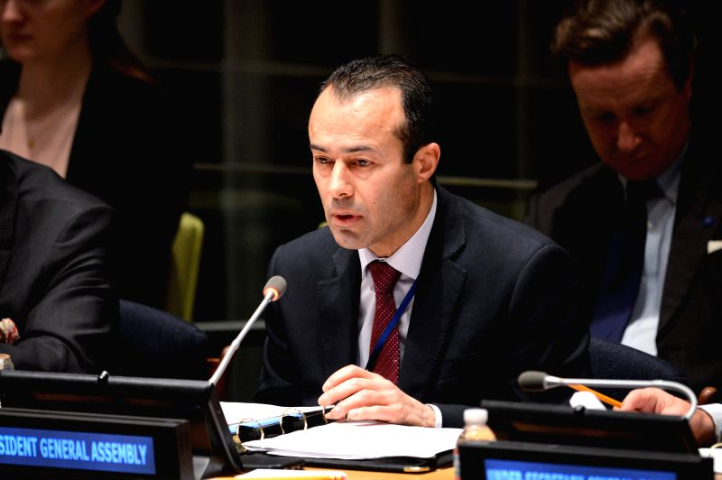 "The acting president of the UN General Assembly, Mohamed Khaled Khiari, speaks during a special thematic debate of the UN General Assembly (UNGA) on ""Culture ..."