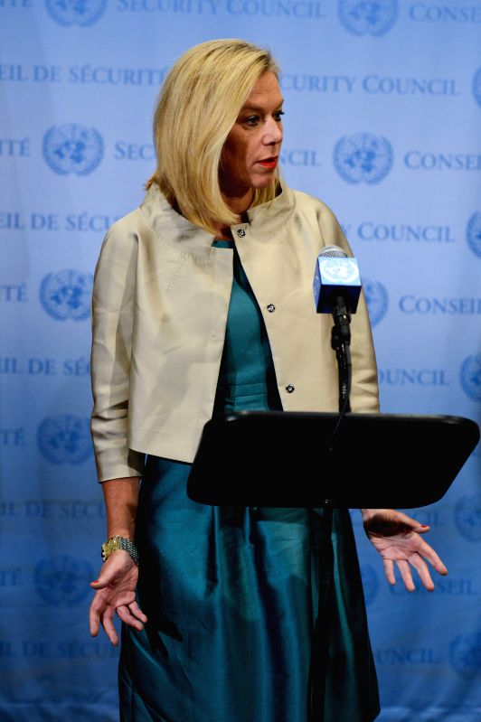 Photo: Sigrid Kaag, the special coordinator of the Joint Mission of the Organisation for the Prohibition of Chemical Weapons (OPCW) and the United Nations, briefs ...