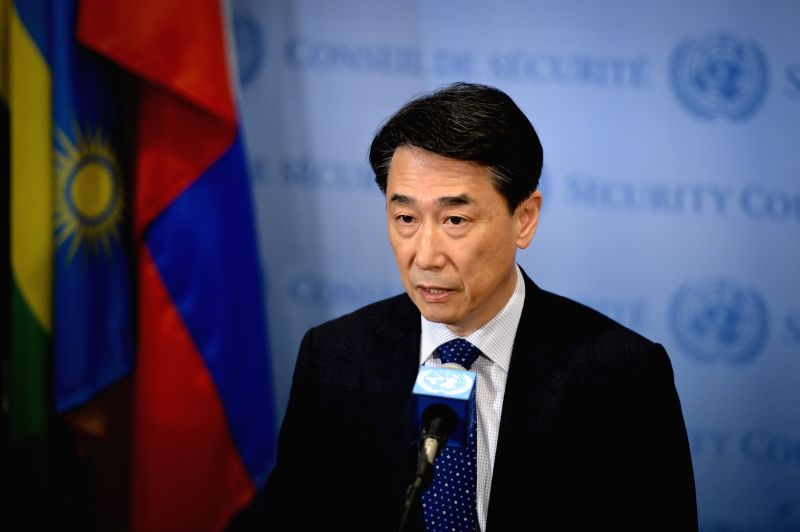 South Korean Permanent Representative to the United Nations Oh Joon, who holds the rotating presidency of the UN Security Council for the month of May, reads a ...