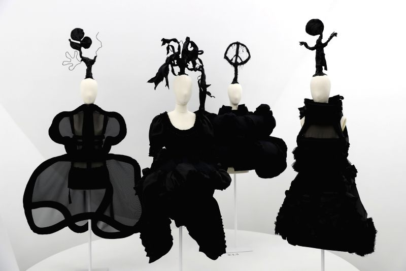 NEW YORK, May 9, 2017 - Photo taken on May 9, 2017 shows the works designed by Rei Kawakubo at Costume Institute's spring 2017 exhibition in Metropolitan Museum of Art in New York, the United States. ...