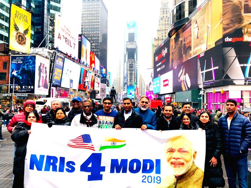 New York: Overseas Friends of BJP and NRIs4Modi at a rally in support of the BJP and Prime Minister Narendra Modi at New York's Times Square in March, 2019. (Photo: NRIs4Modi Tweet)