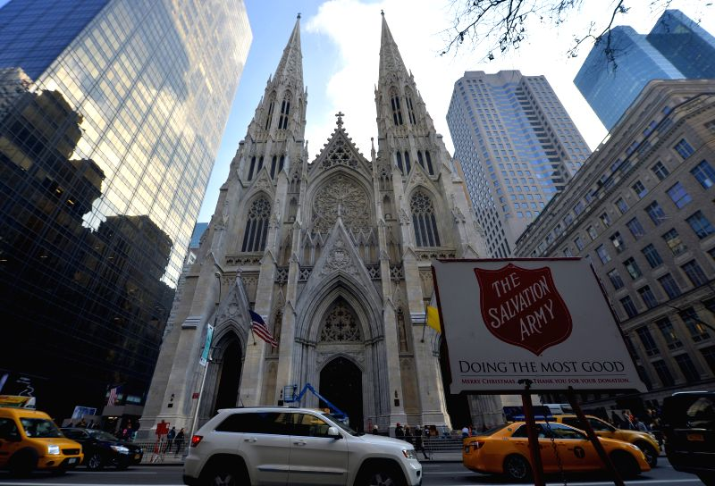 New York: Photo taken on Dec. 10, 2015 shows the general view of the Saint Patrick's Cathedral in Manhattan, New York City, the United States. The full restoration of Saint Patrick's Cathedral, ...