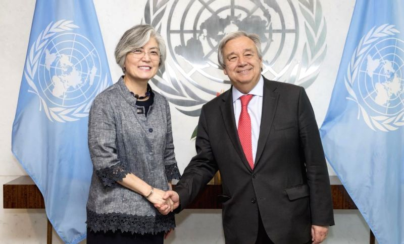 New York: South Korean Foreign Minister Kang Kyung-wha (L) shakes hands with U.N. Secretary-General Antonio Guterres in New York on July 20, 2018, in this photo provided by Seoul's foreign ministry. - Kang Kyung