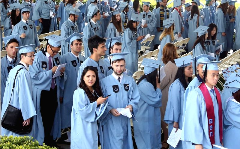 New York: Students during 2017 Graduation Ceremony of Columbia University in New York on May 16, 2017.