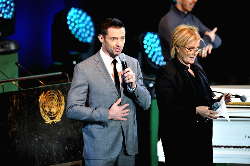 "New York (U.S.): Actor Hugh Jackman (L) speaks during an event marking the global launch of UNICEF ""Imagine Project""  and the 25th Anniversary of the Convention on the Rights of the Child, . - Hugh Jackman"