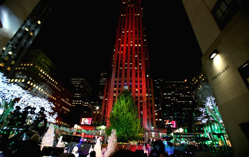 New York (U.S.): Photo taken on Dec. 3, 2014 shows the Norway Spruce during the 82nd Christmas Tree Lighting Ceremony in Rockefeller Center in New York, the United States. Thousands of people ...