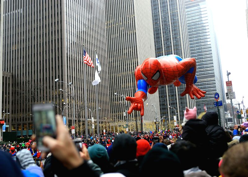 New York (U.S.): The Spiderman balloon passes by during the 88th Macy's Thanksgiving Day Parade in New York, the United States, Nov. 27, 2014.