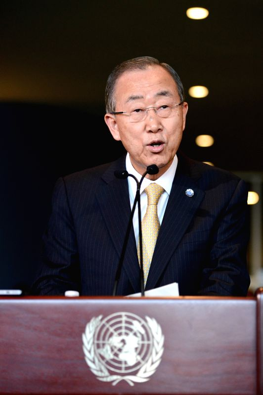 New York (U.S.): UN Secretary-General Ban Ki-moon addresses media reporters regarding the post-2015 development agenda at the UN headquarters in New York, on Dec. 4, 2014. UN Secretary-General Ban ...