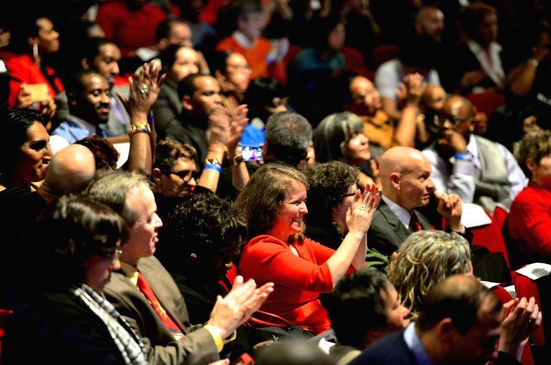 New York (United States): An audience attends an event marking New York City's achievements and projections in its battle against AIDS in New York City, the United States, Dec. 1, 2014. New York City