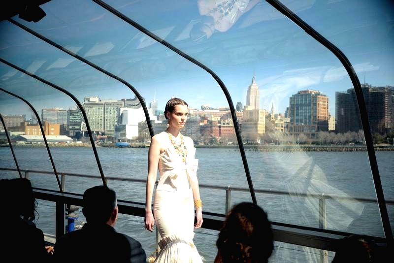 New York (US): A model walks the  ramp during J Spring Fashion Show 2015 in New York, US  on March 20, 2015. The fashion show was organised on Hudson river.