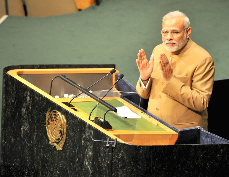 New York (US): Prime Minister Narendra Modi addressing the United Nations Summit for the adoption of Post-2015 Development Agenda, in New York on Sep. 25, 2015. (Photo: IANS/PIB)