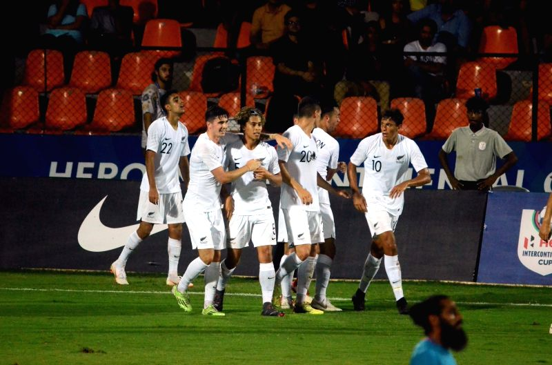 New Zealand players celebrate after winning an Intercontinental Cup 2018 match between India and New Zealand in Mumbai, on June 7, 2018. Score: 2-1.