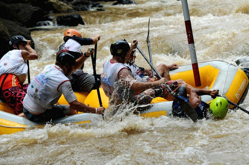 New Zealand slalom team practices during World Rafting Championship 2015 at Citarik river, Sukabumi, West Java, Indonesia on Dec. 3, 2015.