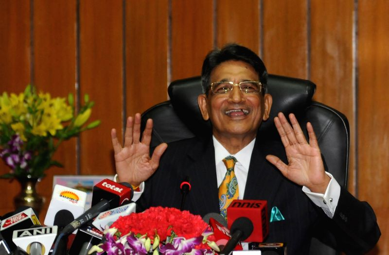 Newly appointed Chief Justice of India, Justice Rajendra Mal Lodha during a press conference at Supreme Court in New Delhi on April 27, 2014.