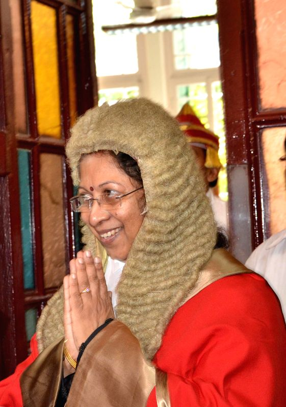 Newly appointed Chief Justice of Kolkata High Court Manjula Chellur during her swearing-in ceremony in Kolkata High Court on Aug 5, 2014.