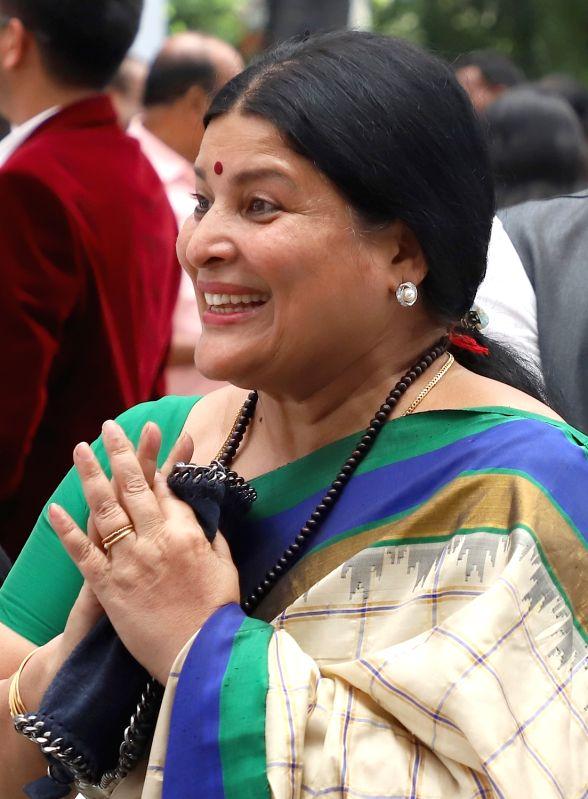 Newly appointed Karnataka Minister Jayamala during her swearing-in ceremony at Raj Bhawan in Bengaluru on June 6, 2018. - Jayamala
