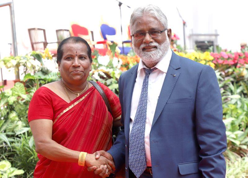 Newly appointed Karnataka minister Kollegal N Mahesh during his swearing in ceremony at Raj Bhawan in Bengaluru, on June 6, 2018. - Kollegal N Mahesh
