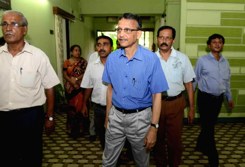 Newly appointed West Bengal Election Commissioner Susanta Ranjan Upadhyay, a 1980 batch West Bengal Civil Service officer arrives to assume office in Kolkata on July 22, 2014.