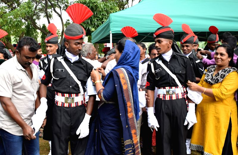 Newly commissioned officers celebrates during the Passing out Parade, in Bengaluru on July 21, 2016.