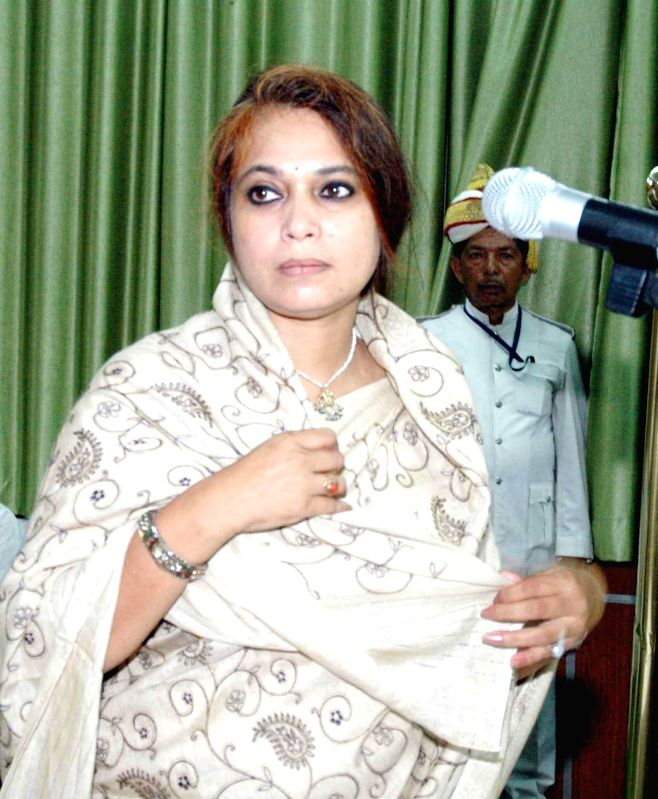 Newly elected BJP legislator Rashmi Verma takes oath of office in Patna on Sept 4, 2014. - Rashmi Verma