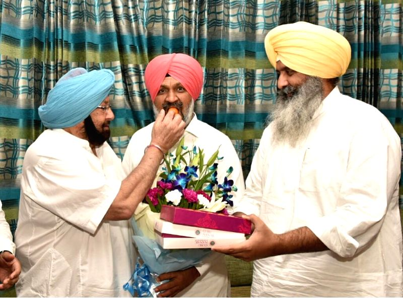 Newly elected Congress MLA from Shahkot, Hardev Singh Ladi, calls on Punjab Chief Minister Captain Amarinder Singh in Chandigarh, on June 1, 2018. - Captain Amarinder Singh and Hardev Singh Ladi