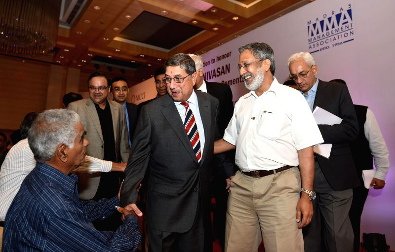 Newly elected International Cricket Council (ICC) Chairman N Srinivasan during a programme organised by MMA and MCCI clubs in Chennai on July 15, 2014.