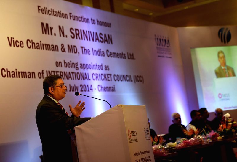 Newly elected International Cricket Council (ICC) Chairman N Srinivasan addresses during a programme organised by MMA and MCCI clubs in Chennai on July 15, 2014.